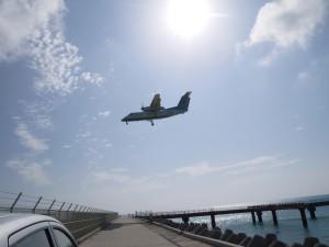 下地島空港 飛行機着陸4